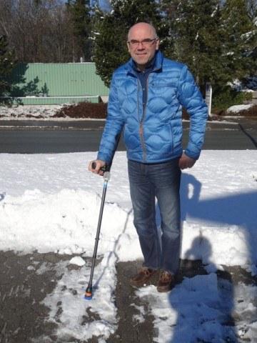 Ispig til krykke - FlexyFoot står godt fast på is og sne.
