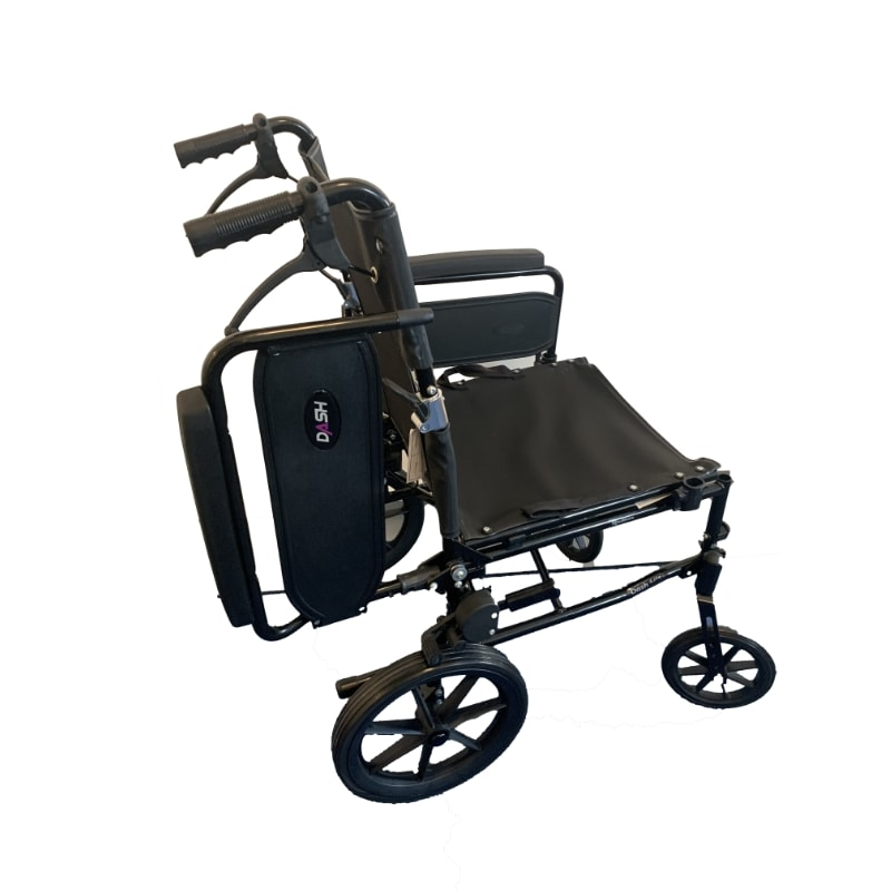Transportkørestol med flytbart armlæn
