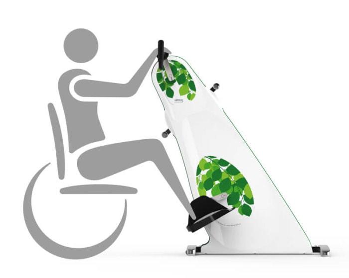 Motionscykel til kørestol grå